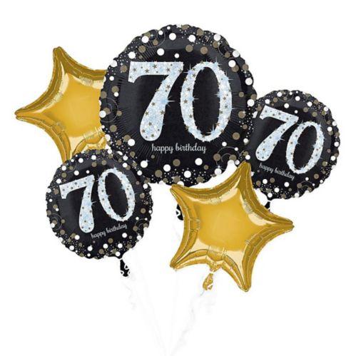 Bouquet de ballons scintillants pour fête de 70ans, paq. 5 Image de l'article