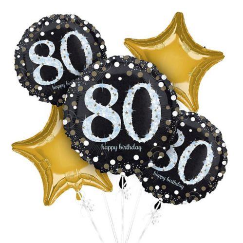 Bouquet de ballons scintillants pour fête de 80ans, paq. 5