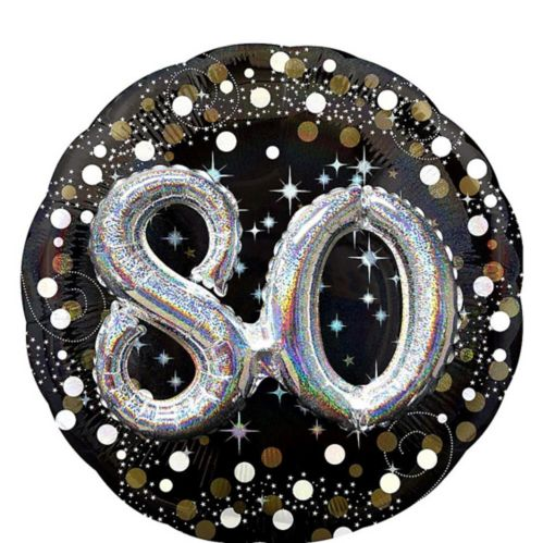 3D Sparkling Celebration 80th Birthday Balloon, 36-in