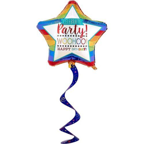 Rainbow Happy Birthday Star Balloon with Swirl Tail