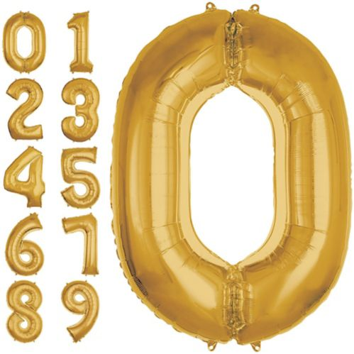 Gold Number Balloons, 50-in