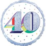 Prismatic Rainbow 40th Birthday Balloon, 18-in