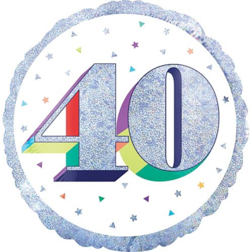 Prismatic Rainbow 40th Birthday Balloon, 18-in Product image