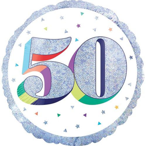 Prismatic Rainbow 50th Birthday Balloon