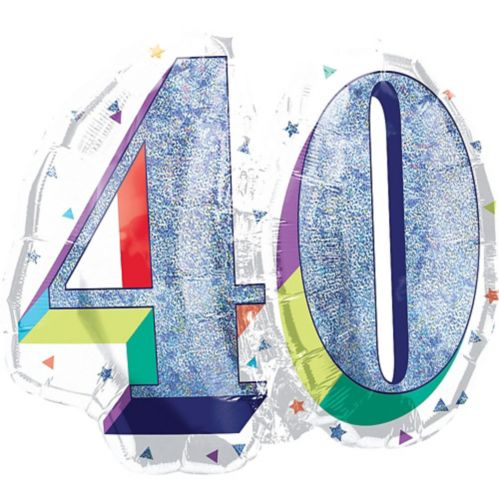 Prismatic Rainbow 40th Birthday Balloon, 26-in Product image