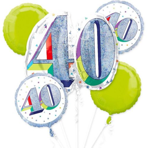 Prismatic Here's to Your 40th Birthday Balloon Bouquet, 5-pc