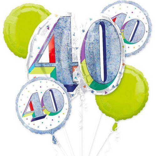 Bouquet de ballons prismatiques pour 40ans, paq. 5