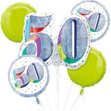 Prismatic Here's to Your 50th Birthday Balloon Bouquet, 5-pc
