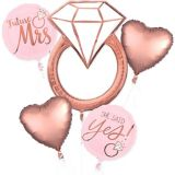 Rose Gold Engagement Party Balloon Bouquet, 5-pc