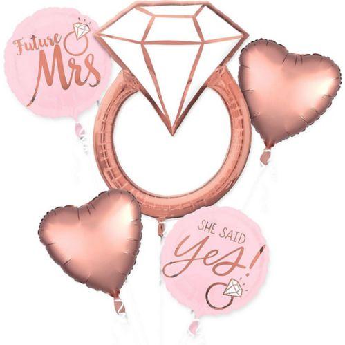 Bouquet de ballons pour fête de fiançailles, or rose, paq. 5