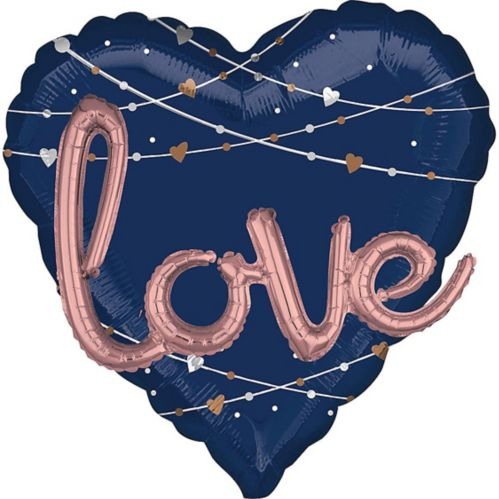 Giant Navy Metallic 3D Heart Balloon, 36-in