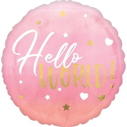 Metallic Gold, Pink & White Hello World Balloon