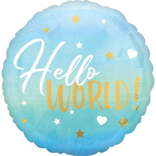Metallic Gold, Blue & White Hello World Balloon