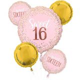 Metallic Gold & Pink Sweet 16 Balloon Bouquet, 5-pc