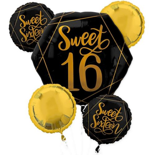 Black & Metallic Gold Sweet 16 Balloon Bouquet, 5-pc