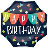 Happy Birthday Banner Octagonal Balloon, 22-in