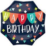 Ballon d'anniversaire à motif de confettis et bannière, bleu marine