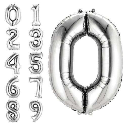 Ballon en forme de chiffre, argenté, 34 po Image de l'article