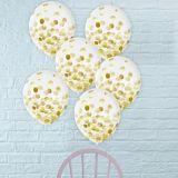 Metallic Gold Confetti Balloons, 12-in, 6-pk | Amscannull