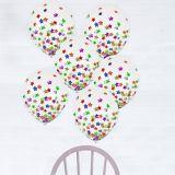 Ballons à motifs de confettis en forme d'étoile, multicolore, 12po, paq. 6 | Amscannull