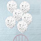 Ballons à motifs de confettis, argent métallique, 12po, paq. 6 | Amscannull