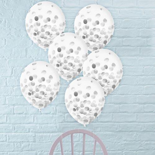 Metallic Silver Confetti Balloons, 12-in, 6-pk
