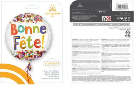 Bonne Fete Dots Balloon, 18-in Product image