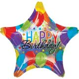 Giant Rainbow Balloon Bash Star Happy Birthday Balloon, 28-in