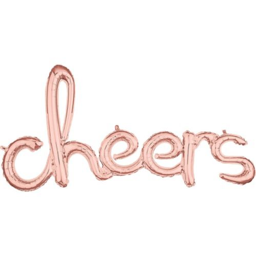 Air-Filled Rose Gold Cheers Cursive Letter Balloon Banner