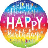 Ballon d'anniversaire arc-en-ciel, Hip Hip Hooray, 28 po | Amscannull