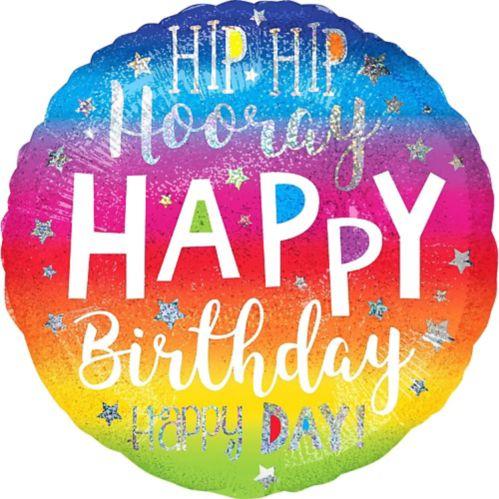 Ballon d'anniversaire arc-en-ciel, Hip Hip Hooray, 28 po Image de l'article
