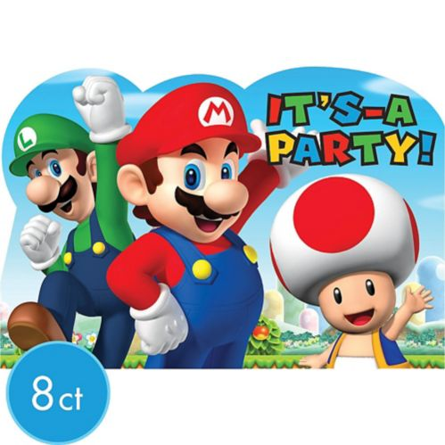 Invitations Super Mario, paq. 8