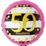 Ballon 50e anniversaire, rose et doré prismatique, 17,5 po