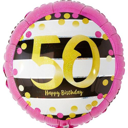 Prismatic Pink & Gold 50th Birthday Balloon, 17.5-in Product image