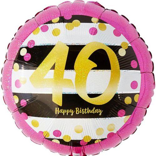 Ballon 40e anniversaire, rose et doré prismatique, 17,5 po