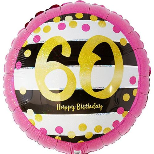 Prismatic Pink & Gold 60th Birthday Balloon, 17.5-in
