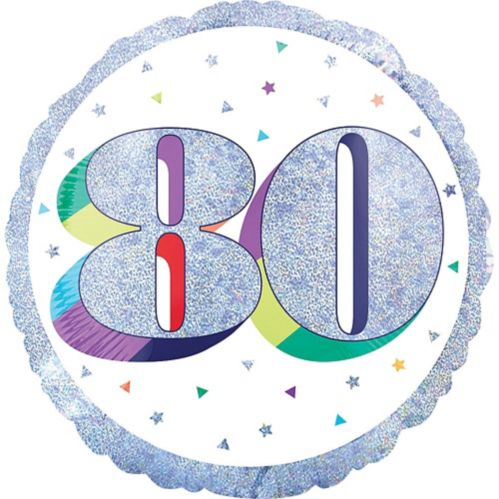Prismatic Rainbow 80th Birthday Balloon