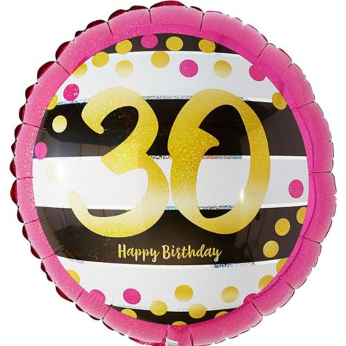 Prismatic Pink & Gold 30th Birthday Balloon, 17.5-in