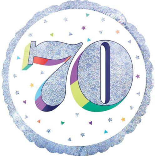 Ballon iridescent 70e anniversaire, multicolore