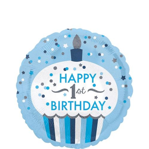 Blue Cupcake 1st Birthday Balloon, 18-in