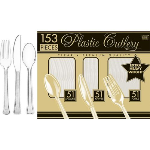 Clear Plastic Cutlery Set, 153-pc