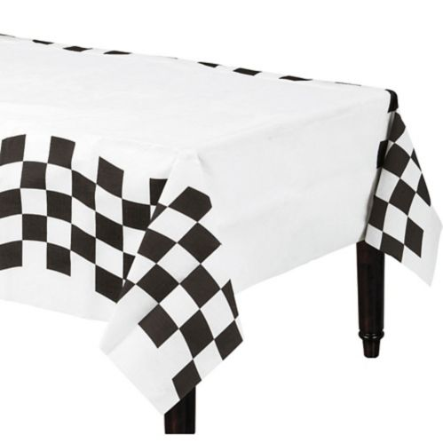 Housse de table en papier à motif de damier, noir et blanc Image de l'article