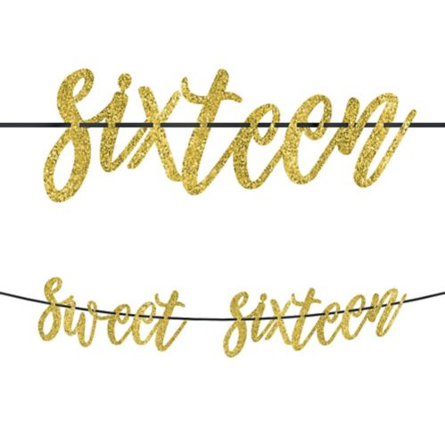 Glitter Gold Sweet 16 Birthday Banner Product image