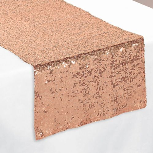 Rose Gold Sequin Table Runner, 13-in x 72-in Product image