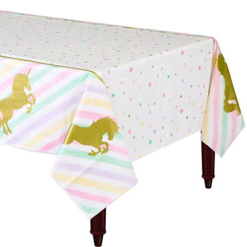 Sparkle Unicorn Plastic Tablecloth, 54-in x 102-in