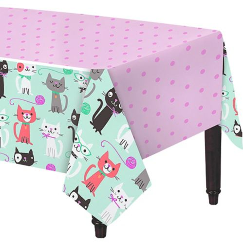 Cat Party Plastic Tablecloth, 54-in x 102-in