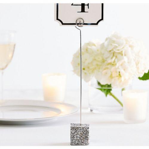 Porte-numéro de table à paillettes argentées Image de l'article