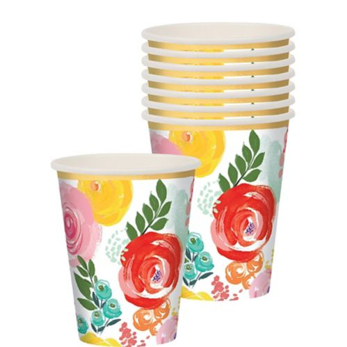 Bright Floral Cups, 8-pk