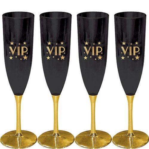 VIP Champagne Flutes, Metallic Gold, 4-pk