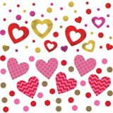 Confettis coeurs, câlins et bisous